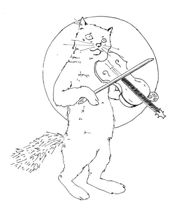 drawing of cat fiddling under the moon