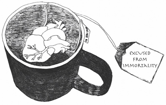 drawing of mug with anatomically correct heart inside, tied to a tea tag that reads 'EXCUSED FROM IMMORTALITY'