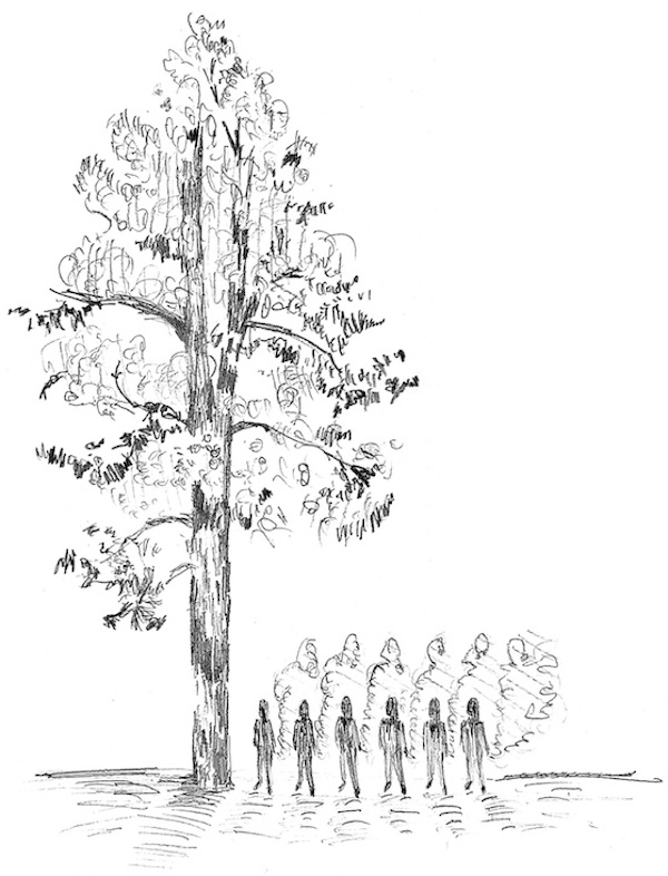 drawing of six silhouettes smoking near a very tall ponderosa